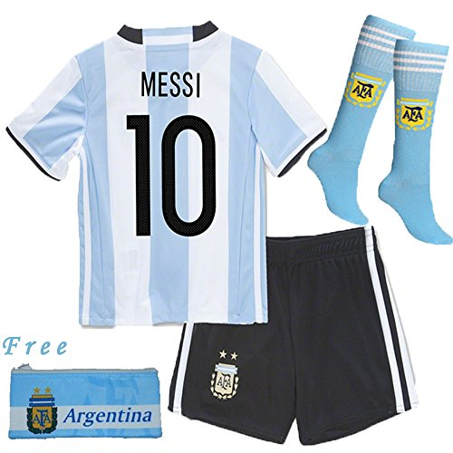 Barcelona Kids Jersey New 2017 light blue /black Football Soccer Home Kit Kids Jersey & Shorts & Socks & Free Pen Bag Sportwear Kit (9-10 years)