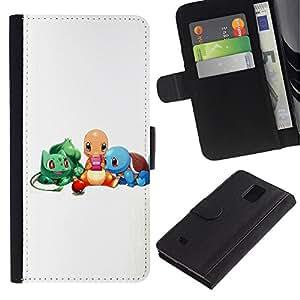 LECELL--Cuero de la tarjeta la carpeta del tirón Smartphone Slots Protección Holder For Samsung Galaxy Note 4 IV -- Pokemn Amigos --