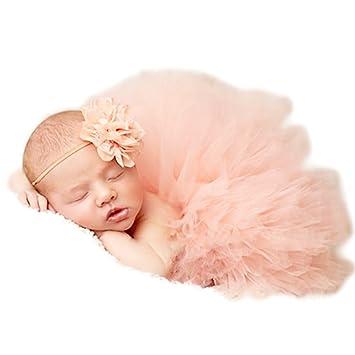 acce8f8249551 Prop Photographie pour bébé fille 0-3 mois Tutu Jupe tenues de Coiffe de  naissance