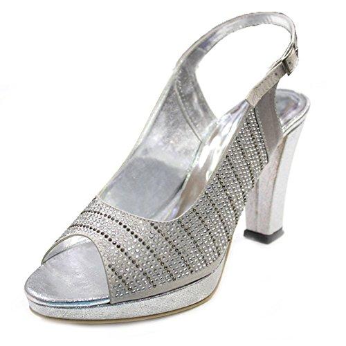 Talon amp; Diamante Plateforme nbsp; mariée l'avant Chaussures Bloc empilables Mesdames de mariage femmes W W Double soirée sandale sur AdFwv4