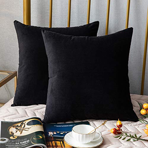 DEZENE Couch Pillow Cases,2 Pack, Solid Soft Velvet Square Decorative Pillow Covers,Accent Pillowcases,Euro Cushion Covers for Farmhouse,Sofa,Kids,Indoor & Outdoor,20 x 20 Inch,Black