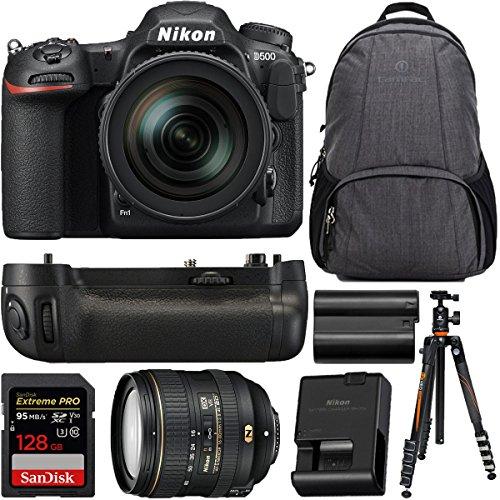 Nikon D500 20.9 MP DX-Format Digital SLR Camera with AF-S 16-80mm f/2.8-4E ED VR Lens MB-D17 Battery Grip Bundle