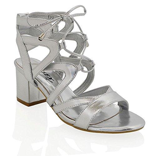 ESSEX GLAM Damen Niedriger Blockabsatz Schnitten Ferse Sandalen im Gladiatorstil zum Schnüren Zehenfrei Schuhe Silber Metallisch
