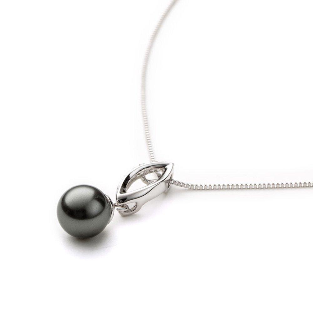 Blue Pearls Pendentif Perle Grise Cristal et Plaqué or blanc BPS B200 W Gris