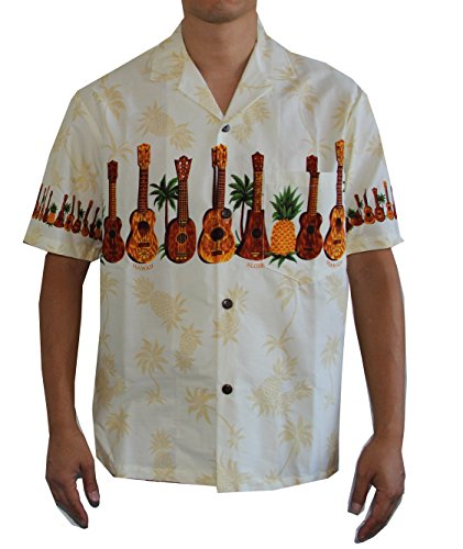 Men's Hawaii Island Style Pineapple and Ukulele Hawaiian Aloha Shirt