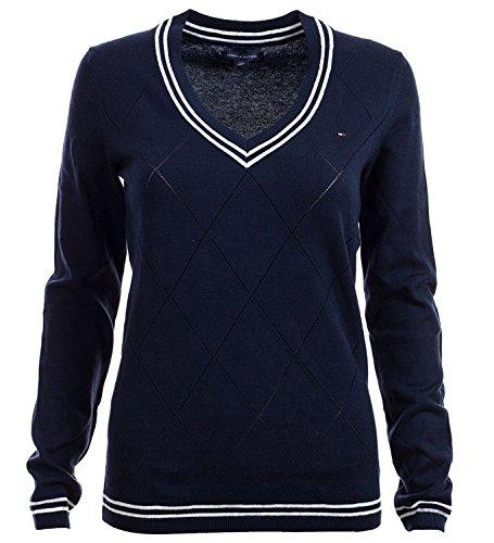 Tommy Hilfiger Pullover, Women's Diamond Knit V-Neck Sweater, Large