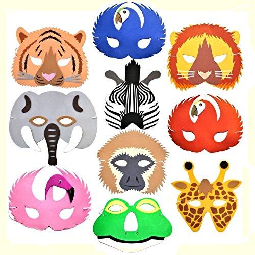 10 Rainforest Safari Jungle Animal Foam Masks Made By Blue Frog Toys