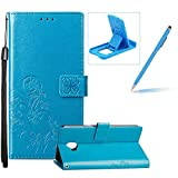 Blue Leather Case for Samsung Galaxy J2 Pro 2018,Strap Wallet Flip Cover for Samsung Galaxy J2 Pro 2018,Herzzer Classic Pretty Four Leaf Clover Print Magnetic Buckles Design Full Body Card Slots Stand Folio Synthetic Leather Case with Soft Silicone