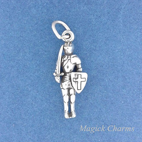 - 925 Sterling Silver 3-D Knight in Shining Armor Charm Pendant Jewelry Making Supply, Pendant, Charms, Bracelet, DIY Crafting by Wholesale Charms