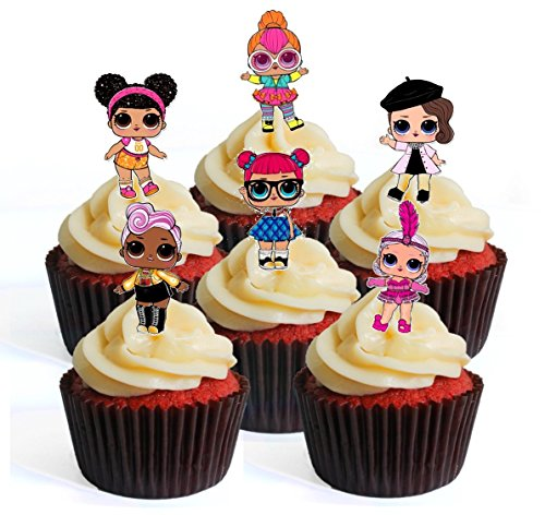 Price comparison product image 12 LOL Surprise Doll PRECUT Edible Cupcake Toppers - Stand Up Wafer Cake Decorations ( 7 PRECUT)