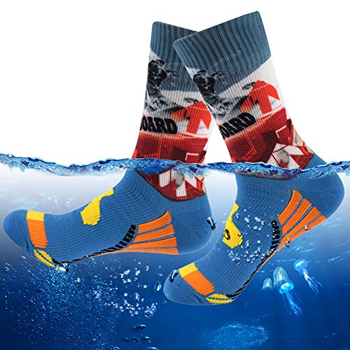 (Waterproof Casual Socks for Mailmen, RANDY SUN Mid Calf Water Resistant Breathable Comfortable Water Sports Socks, Keep Water Outside When Hunting Hiking Fishing, 1 Pair Crew- Blue Snowboard, Small)