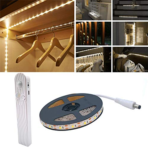 Motion Sensor Wardrobe Light, 2M 120 LED6500K White LED Strip,USB Or Battery Operated White with,Timer,Day/Night Sensor Switch for Closet,Cupboard,Under Cabinet,Stairs,Bed Night Lighting