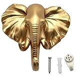 bouti1583 Single Elephant Head Ear Wall Hanger Coat Hat Hook Animal Shaped Decorative Gift Gold