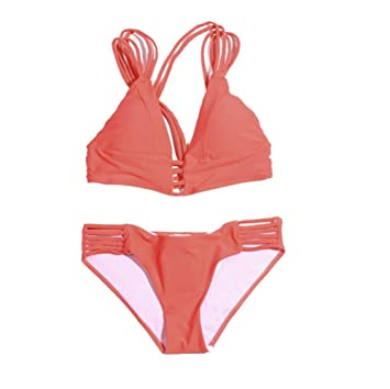 QJXSAN Mini Conjunto de Bikini de Mujer, Traje de baño de Cuerda Atada Sexy Traje de baño natación Conjunto de Ropa Interior (Juego de 2): Amazon.es: Jardín