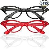 Cat Eye Glasses, 3-Pack Elimoons 50s Vintage Women Cateye Eyeglasses with Rhinestones