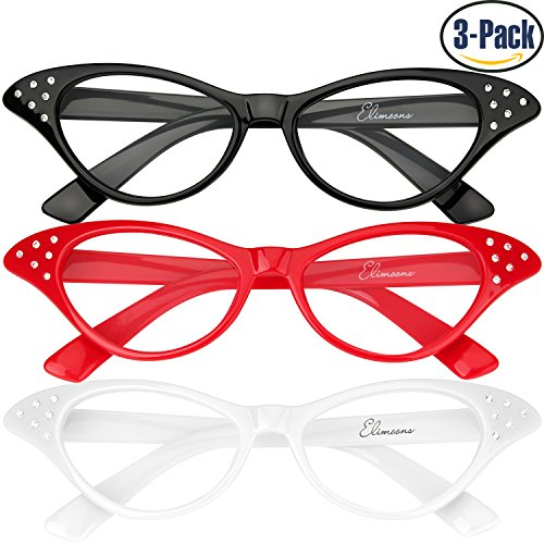 cac66beab9 Cat Eye Sunglasses 3 Pack Elimoons 50s Glasses with Rhinestones Various  Colors lovely