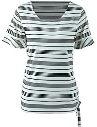 fa02364420c2 Women's Short Sleeve Round Neck Striped Classic-Fit T-Shirt Casual Blouse