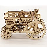 3D Wooden Puzzles Laser Engraving DIY Safe Assembly Constructor Kit Toy for Kids Teens and Adults (D2 Mechanical Tractor)
