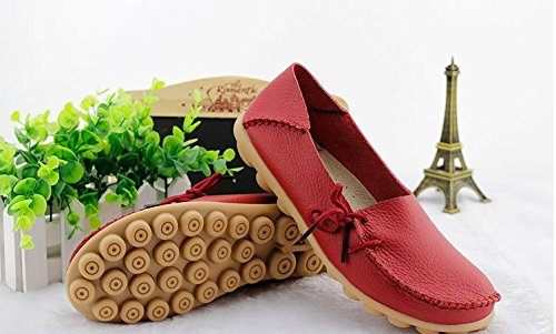 Frauen Driving Schuhe Rindsleder Casual Lace-Up Loafers Bootsschuhe Wohnungen rot