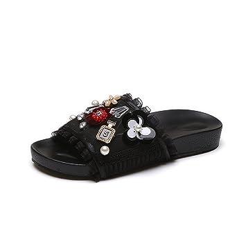 GTUFDRG NEUE Frau String Bead Strass Flip Flops Schuhe Flache Sandalen Schieben Hausschuhe Black 5 p2Mo3B
