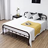 Giantex Metal Platform Bed Frame with Headboard and Footboard Steel Slat Support for Mattress Foundation (Chocolate Color, Queen)