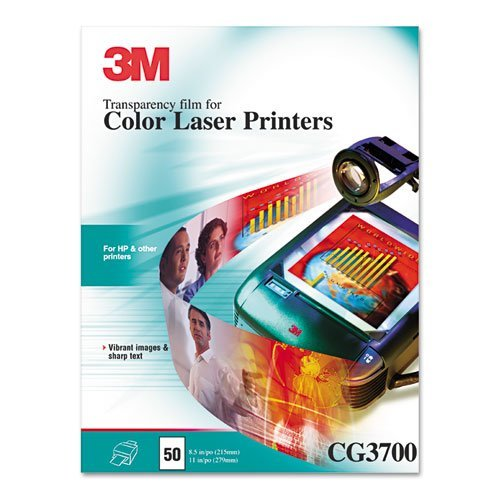 - 3M Color Laser Printer Transparency Film, Clear, Letter, 50/Box