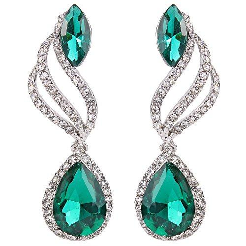 - BriLove Silver-Tone Dangle Earrings for Women Wedding Bridal Fashion Crystal Hollow Leaf Teardrop Earrings Emerald Color