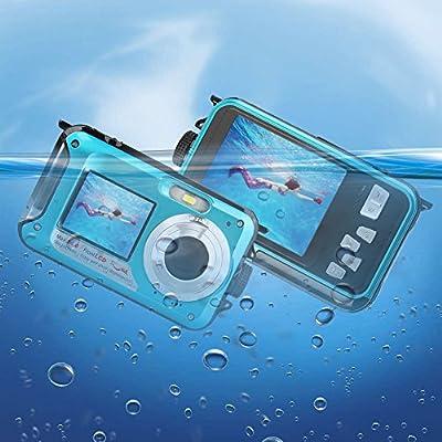 Waterproof Digital Camera Underwater Camera 24 MP Video Recorder Full HD 1080P Selfie Dual Screen Waterproof Camera DV Recording Point Shoot Digital Camera by YISENCE