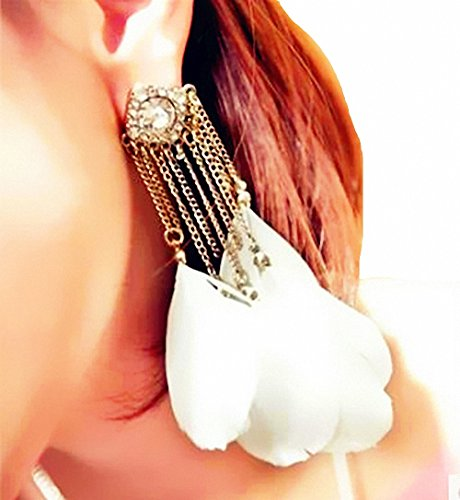 megko Vintage Gold Plated Bohemian Handmade Feather Tassel Drop Dangle Stud Earrings for Women (white)