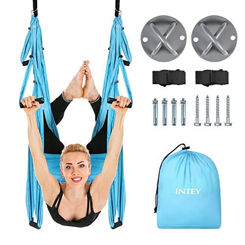 INTEY Aerial Yoga Flying Yoga Swing Yoga Hammock Trapeze Sling Inversion Tool for Gym Home Fitness (with Ceiling Anchors) ()