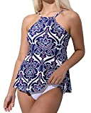 UTTU TRIANGLE High Neck Backless Tankini Swimsuit,Printed Strap Cheeky Two Piece Bathing Suit for Women(Printing-L)