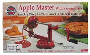 Norpro Apple Paring/Slicing/Coring Machine - Suction - Red