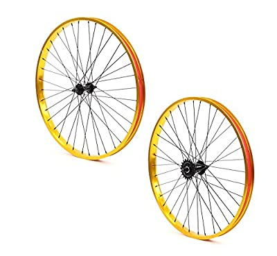 Set of Bicycle Rims (26x32mm; Front & Rear; Anodized Gold)