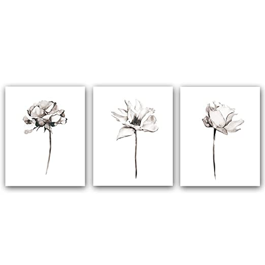 "Blooming Lotus Flower Art Print Elegant Floral Art Picture Poster Set Of 3 (10""X8""Canvas Botanical Wall Art Painting For Yoga Studio Office Home Decor Floral Lover Gift,No Frame by Homdeco"