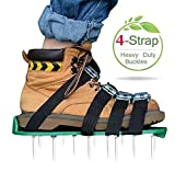 Lawn Aerator Shoes Set [Upgraded] 4 Straps Kitclan(TM) Spiked Sandals for Aerating Your Lawn or Yard with Heavy Duty Zinc Alloy Buckles