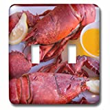 3dRose Danita Delimont - Maine - Portland, Maine, lobster dinner at regional seafood restaurant - Light Switch Covers - double toggle switch (lsp_251068_2)