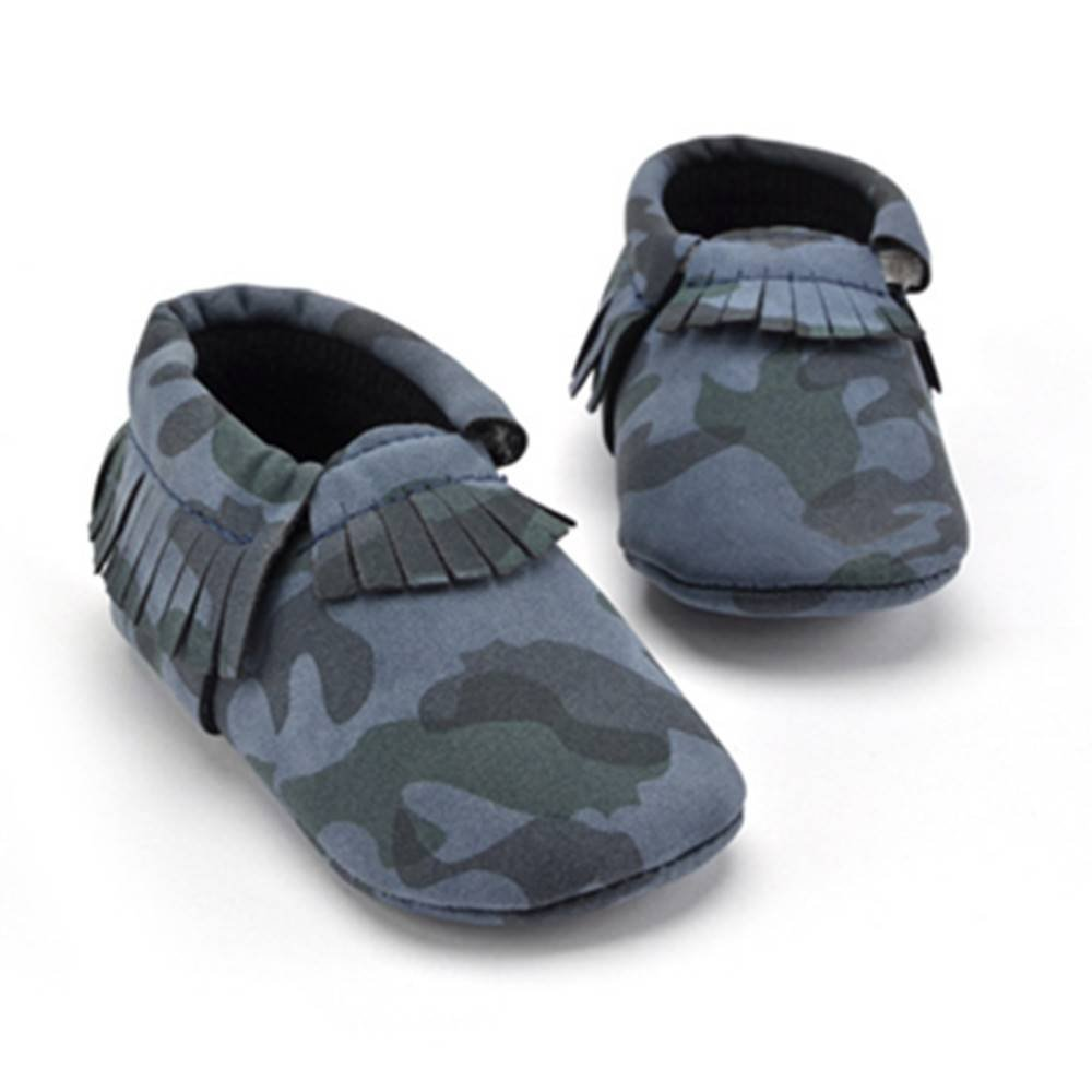 Xinghan Baby Boys Girls Tassel Camouflage Design Anti-Slip Soft Sole Moccasins Toddler Shoes