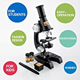 BRAINIAC Young Genius Educational Kid Science Microscope KIT Beginners 100x/200x/400x Collection Vials, Blank Labels, 5 blank slides, tweezer - Magnification Kids Toy in Black