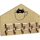 Azeeda 'Cat In Mug' Wall Mounted Coat Hooks / Rack (WH00026040)
