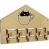 Azeeda 'Cat In Mug' Wall Mounted Coat Hooks / Rack (WH00026040)