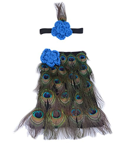 CX-Queen Baby Photography Prop Crochet Knitte Baby Cute Peacock Feather Headband -