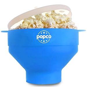 The Original POPCO Microwave Popcorn Popper, Silicone Popcorn Maker, Collapsible Bowl BPA Free & Dishwasher Safe (Light Blue)