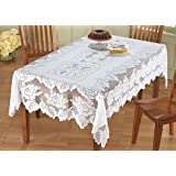 Collections Etc White Floral Lace Tablecloth, 60 X 90, Rectangle