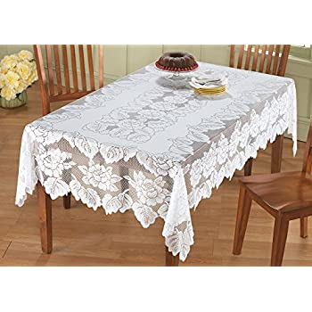 White Floral Lace Tablecloth, Rectangle, 54 X 72