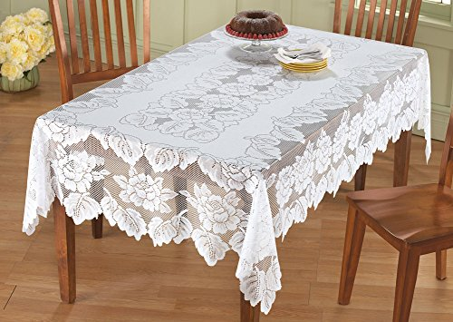 White Floral Lace Tablecloth, Rectangle, 60 X 90