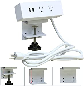 Desk Clamp Power Strip Mount on Desktop Edge, UL Approval Aluminium Alloy Removable Table Power Outlet with USB and 6ft Extension Cord for Home/Office/Hotel Use