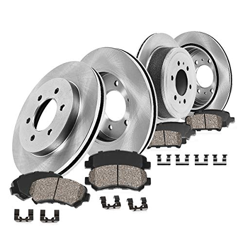 (FRONT 305 mm + REAR 324 mm Premium OE 6 Lug [4] Rotors + [8] Quiet Low Dust Ceramic Brake Pads + Hardware)