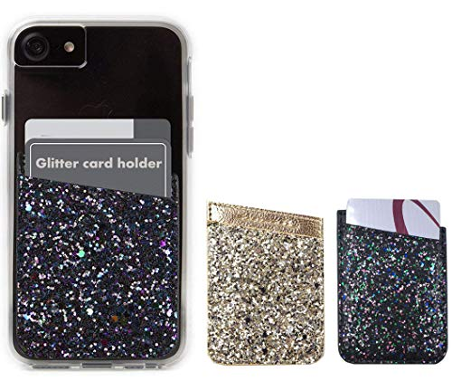 Glitter Adhesive Phone Pocket,Cell Phone Stick On Card Wallet,Credit Cards/ID Card Holder(Double Secure) with 3M Sticker for Back of iPhone,Android and all Smartphones. by Fulgamo