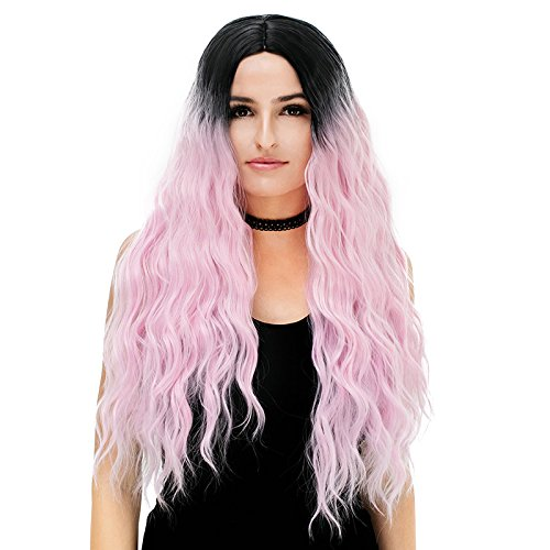 Colorwigy Cosplay Wigs Long Curly Wig Halloween Wig Two Tone Colored Heat Resistant Synthetic Hair Cosplay Wig Center Part for - Rx Vogue