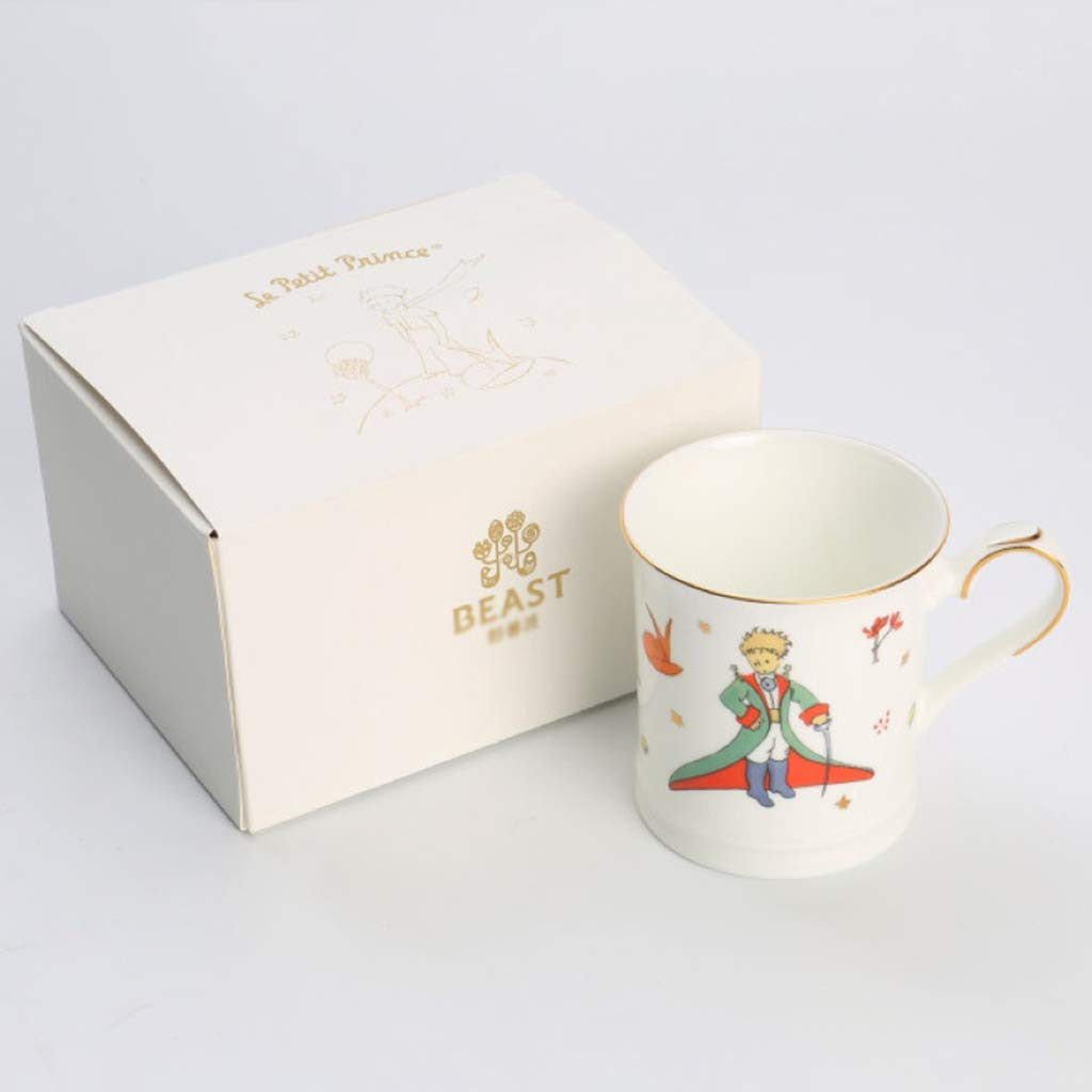 Copa de Dibujos Animados Taza Taza de café Taza de Leche Taza de Cacao Caliente Mango Dorado (Color : Blanco, Size : 280ml): Amazon.es: Hogar